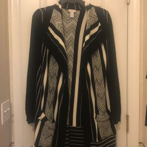 Chico's black and white long Cardigan